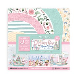 Papier scrapbooking Christmas Rose Stamperia 22f simple face 30x30 assortiment