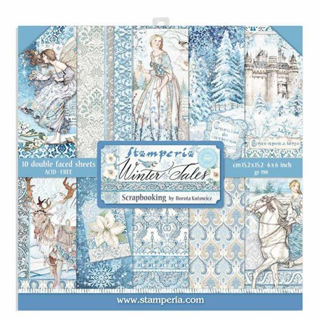 Papier scrapbooking Winter Tales Stamperia 10f double face 15x15 assortiment