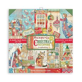 Papier scrapbooking Christmas Patchwork Stamperia 10f double face 15x15 assortiment