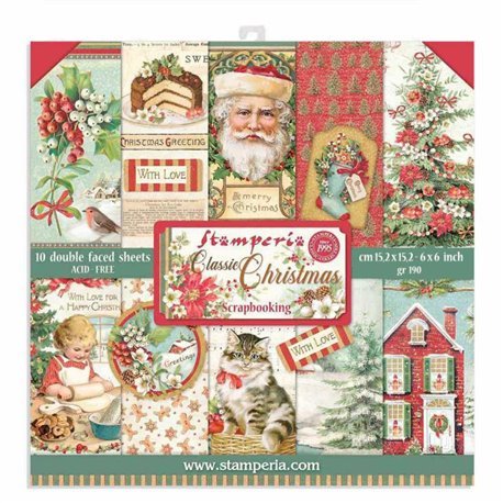 Papier scrapbooking Classic Christmas Stamperia 10f double face 15x15 assortiment