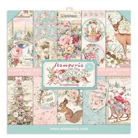 Papier scrapbooking Pink Christmas Stamperia 10f double face 15x15 assortiment