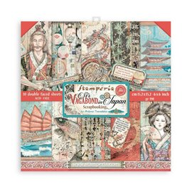 Papier scrapbooking Sir Vagabond in Japan Stamperia 10f double face 15x15 assortiment
