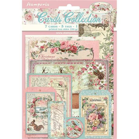 Collection Pink Christmas Stamperia 7 cartes 5 tag 1 signet 10x15cm