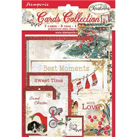 Collection Romantic Christmas Stamperia 7 cartes 5 tag 1 signet 10x15cm