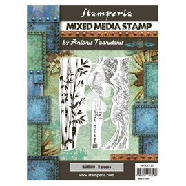 Tampon caoutchouc Sir Vagabond in Japan bamboo 15x20cm Stamperia