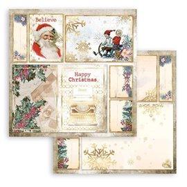 Papier Scrapbooking Romantic Christmas cartes Père Noël Stamperia 30x30cm double face