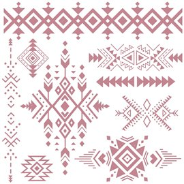 Tampon Redesign Decor Stamps Tribal Prints 30,5x30,5cm - 9 pièces
