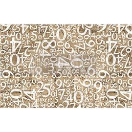 Papier de Murier Mulberry Decoupage Decor Tissue Paper Engraved Numbers Redesign 48x76cm