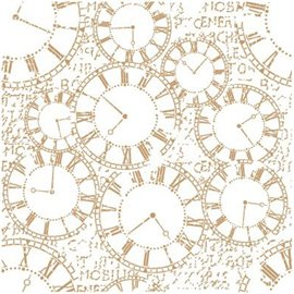Pochoir décoratif Mya Fond d'horloges 30x30cm - 26.4x26.4cm