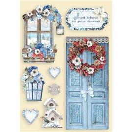 Chipboard bois Winter Tales porte et fenêtre Stamperia silhouettes entaillées A5