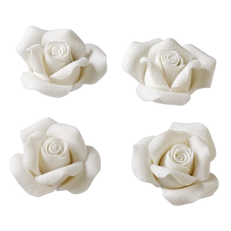 Objets d coration table romantique 4 roses blanches for Objet deco rose pale
