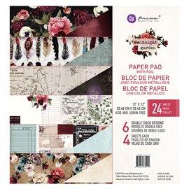 Papier Scrapbooking Midnight Garden 30x30cm assortiment avec couleurs métalliques