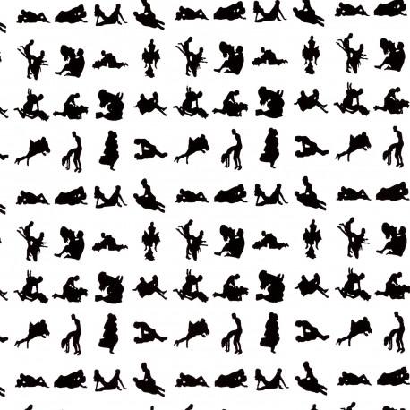 Papier fantaisie indien blanc motif noir pirouette