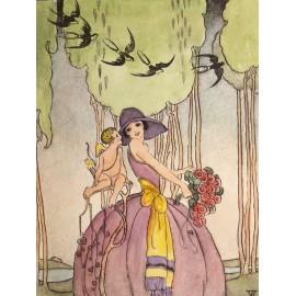 Gravure eau forte femme 1900