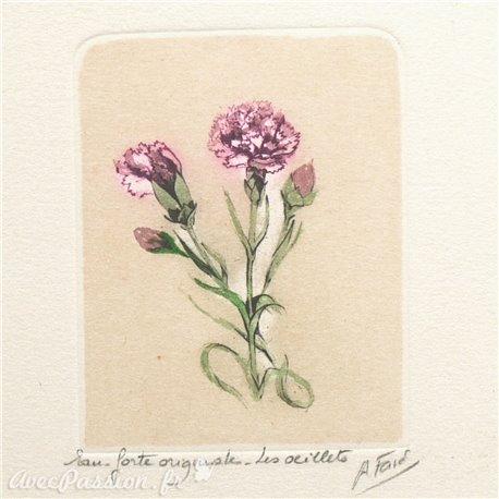 Gravure eau forte fleurs Les œillets