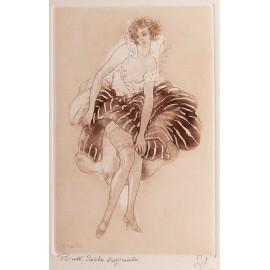 Gravure pointe sèche femme 1900 robe rayée