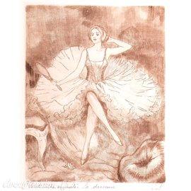 Gravure pointe sèche femme 1900