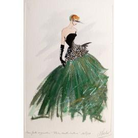 Gravure de mode Eau forte Paris Haute -Couture Robe du soir verte
