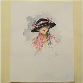 Gravure de mode originale chapeau ruban rose