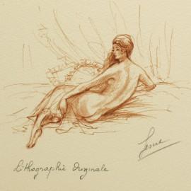 Gravure lithographie femme sanguine de dos