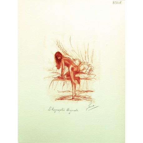 Gravure lithographie nu de femme sanguine le lit