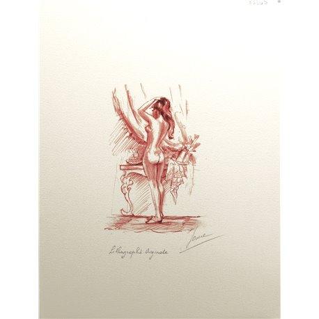 Gravure lithographie nu de femme sanguine devant la coiffeuse