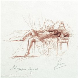 Gravure lithographie nu de femme sanguine allongée