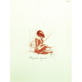 Gravure lithographie femme sanguine assise de dos