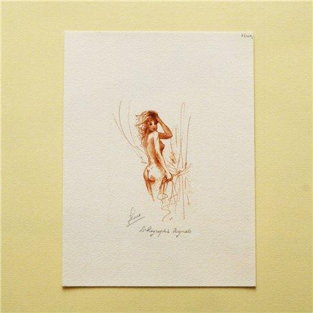 Gravure lithographie nu de femme sanguine mains dans les cheveux