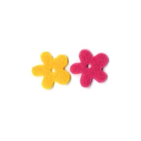 Feutrine fleur jaune et fushia