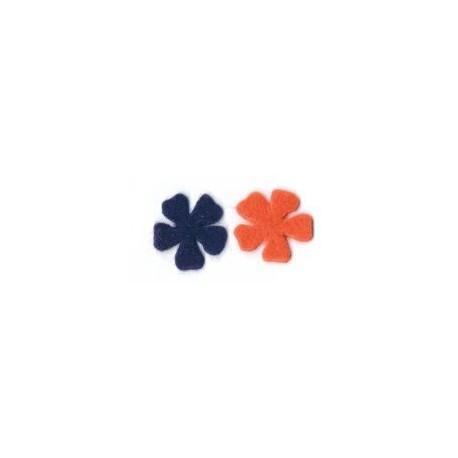 Feutrine fleur aubergine et orange