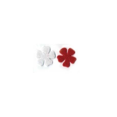 Feutrine fleur blanc et rouge
