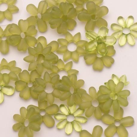 Fleurs acryliques vert 2cm