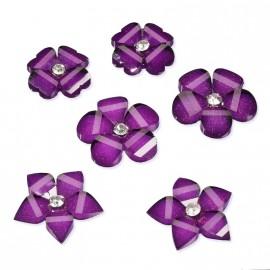 Fleurs acryliques violet 1.5 et 2cm