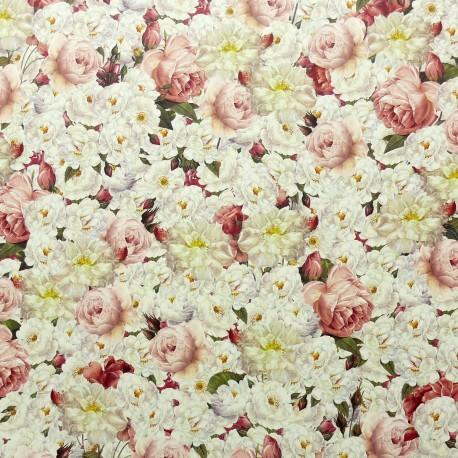 Papier tassotti motifs fleur roses blanche et rose