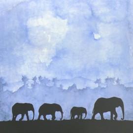 Carte postale éléphant marche silencieuse soizic izzi