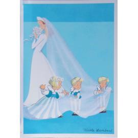 Carte postale les triplés et la mariée