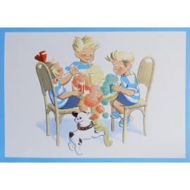Carte postale les triplés et les sodas à bulles