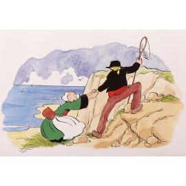 Carte postale Bécassine dans les falaises