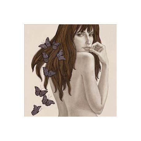 Carte postale Gouskova nu de femme de dos papillons