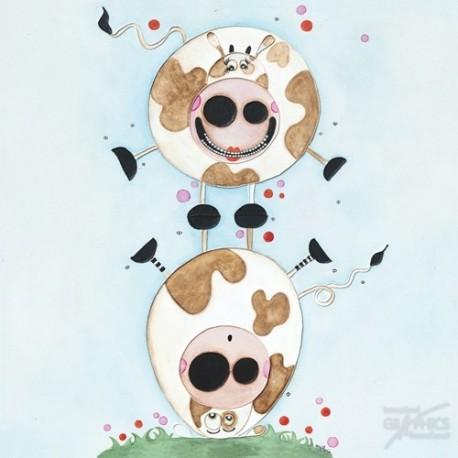 Carte postale Bellon vache saute mouton