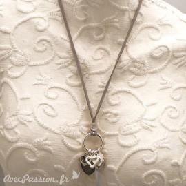 Sautoir fantaisie mazou lien velours gris pampille coeur -