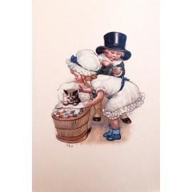 Carte postale Ludom le petit chat dans son landeau
