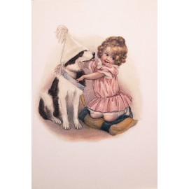 Carte postale Ludom la petite et son chien