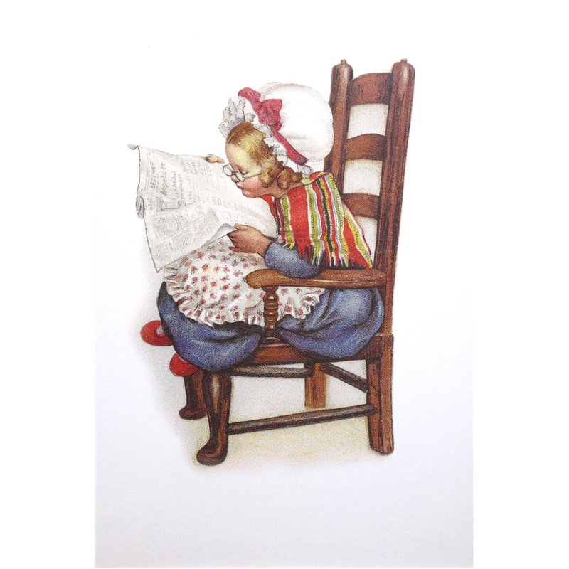 carte postale encadrement petite fille son journal. Black Bedroom Furniture Sets. Home Design Ideas