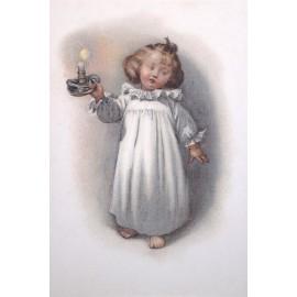 Carte postale Ludom la petite file au chandelier