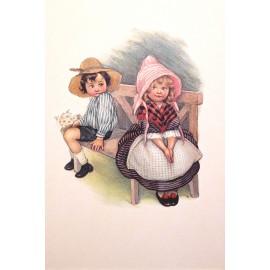 Carte postale Ludom petit couple sur un banc