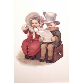 Carte postale Ludom petit couple sur la malle
