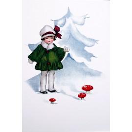 Carte postale Ludom la petite fille dans la neige