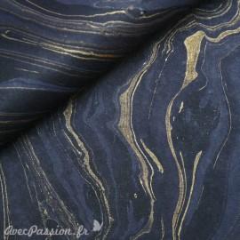 Papier marbré bleu indigo or bleu